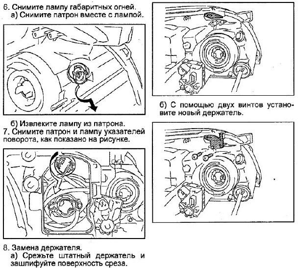 Заміна ламп в передній фарі Avensis