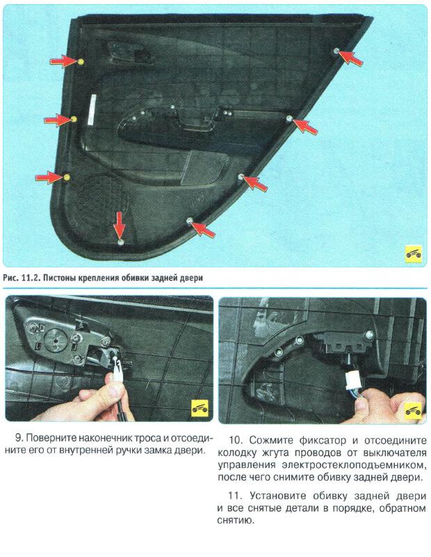 Зняття і установка обшивки дверей Chevrolet Aveo T300