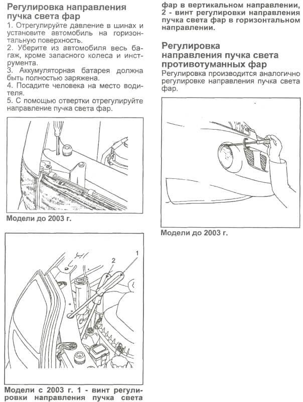 Регулювання фар Hyundai H-1