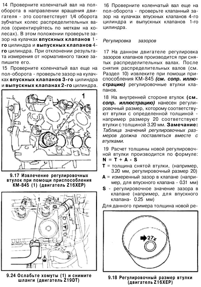 Регулювання клапанів Опель Астра Н
